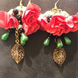 Coral Flowered Dangle Gold Earrings